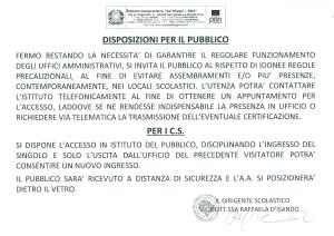 Disposizioni per l'accesso al pubblico1